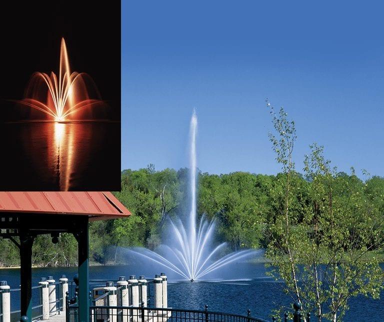Tiara Water Fountain from the Titan Series operating in a lake