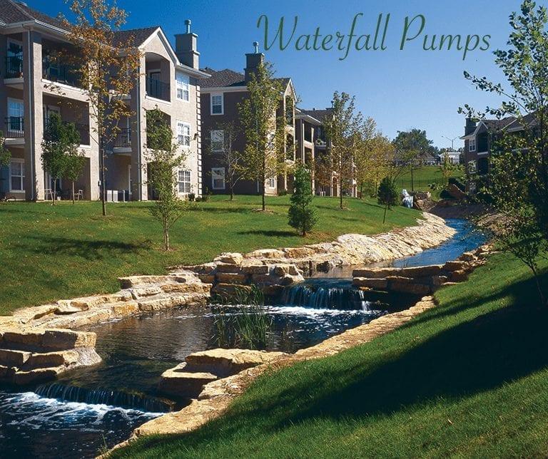 Stream through a hotel complex created using a waterfall pump