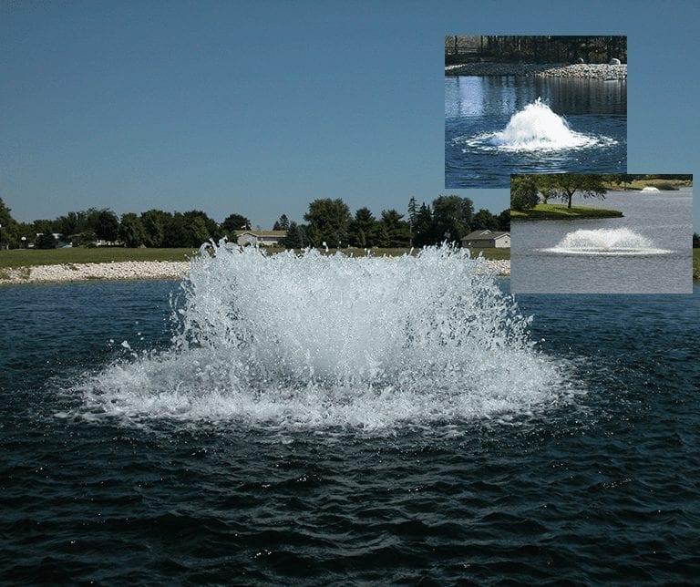 Floating lake aerators, lake aeration from floating lake aerators at Heathland Fountains and Aerators, Norfolk.