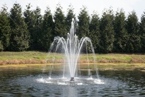 Delmar pattern - Fusion floating pond fountain - Heathland Fountains and Aerators, Norfolk, UK